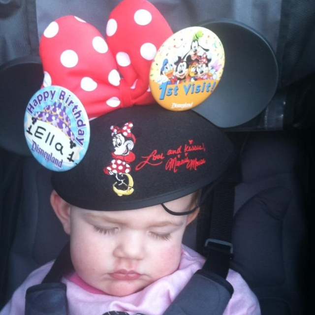 ella at disneyland sleepiing