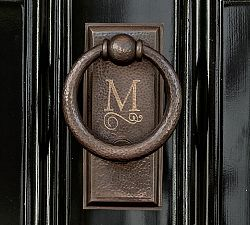 monogrammed door knocker from Pottery Barn