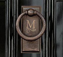 monogrammed door knocker from Pottery Barn
