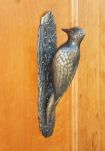 martin pierce woodpecker knocker in bronze
