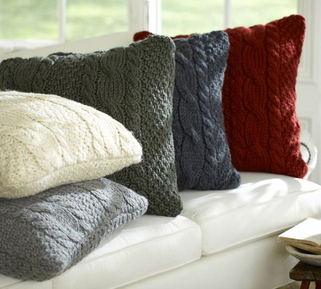 Cable knit pillow covers from Pottery Barn