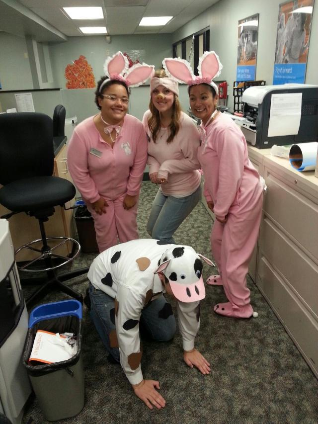 jenna in pig costume with whole branch