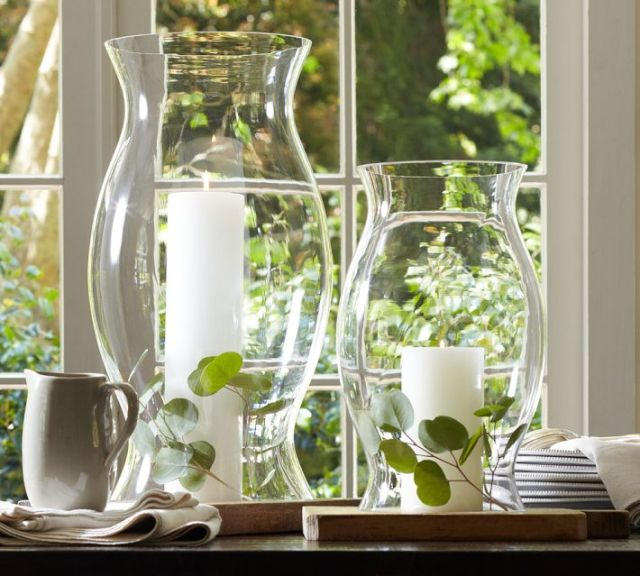 Glass hurricane sleeves from Pottery Barn