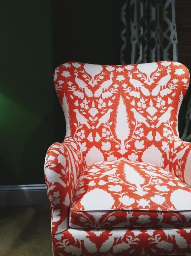 Orange Ikat chair via Eric Loechner and Design for Mankind