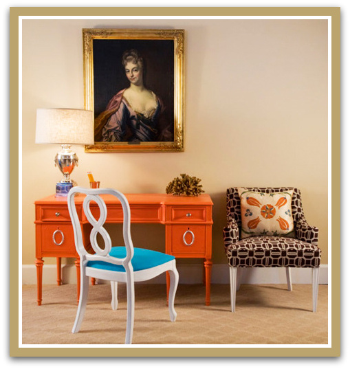 Beautiful orange desk from Live Like you and Marmalade blog paired with turquoise and animal print...something for everyone!