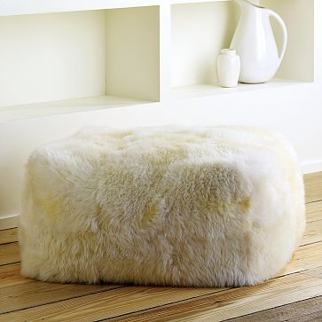 sheepskin pouf from west elm