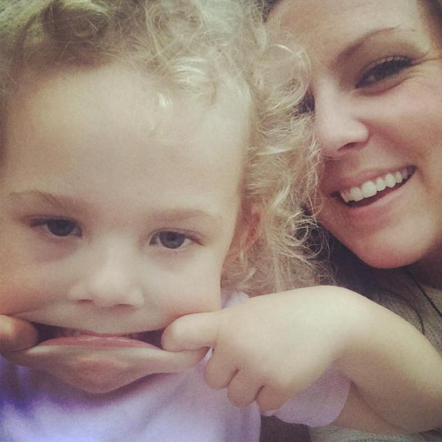 Granddaughter Ella with her Auntie Jenna  (our daughter) being silly