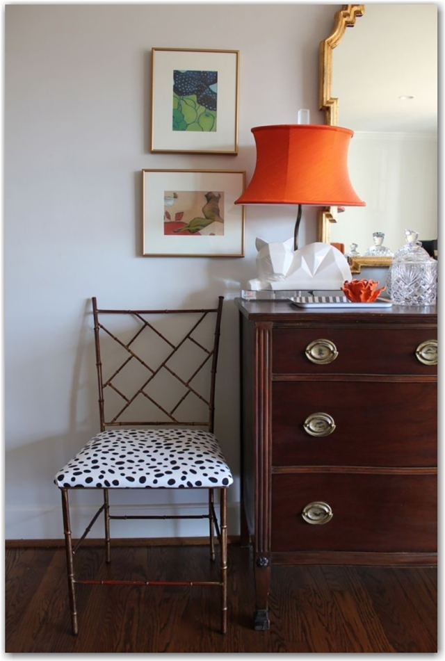 Easy to accomplish with just the right amount of funky fabric via the painted house
