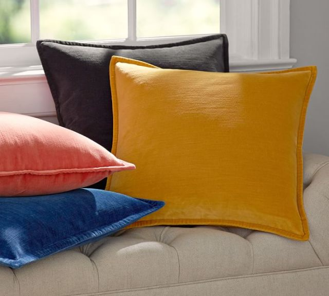 Washed velvet pillows from Pottery Barn