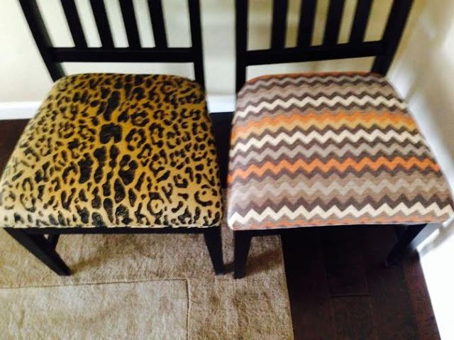 New fabric on right is a velvet chenille zigzag that feels so wonderful on the tusch!