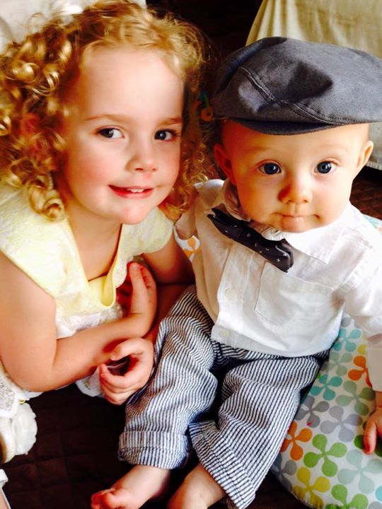 ella and brendan in hat on easter 2015