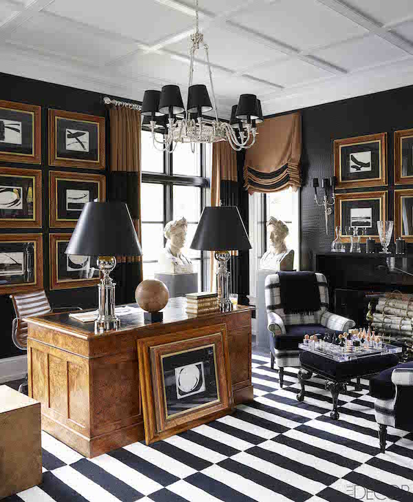 Photo by William Abranowicz via elle decor featuring Madeline Weinrib rug, Ralph lauren wallcovering
