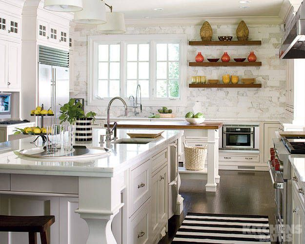 Marvelous Black And White Striped Rug In Kitchen Via South Shore Decorating Blog
