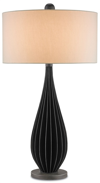 Not as graphic as the bold wide stripes but certainly chic and sophisticated. Lamp from Currey & Co.