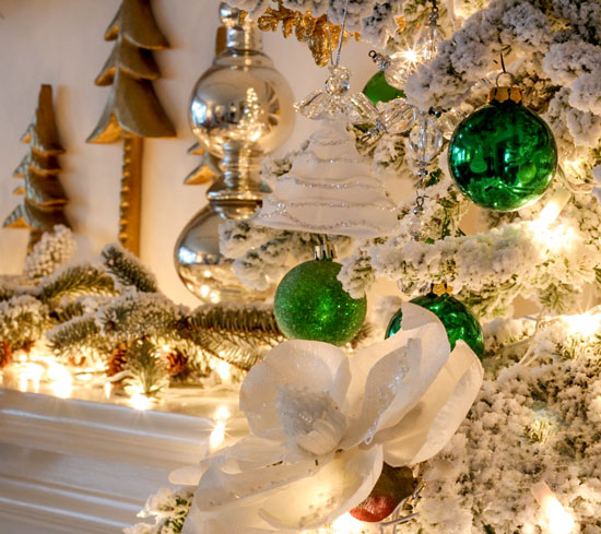 christmas tree white with green ornaments from maria killiam blog