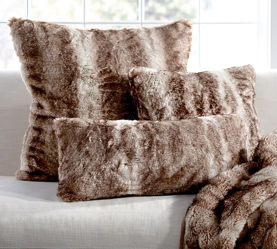 design fur covered pillow from pottery barn