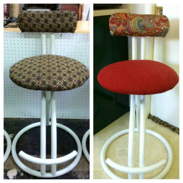 design reupholstered bar stools from pat