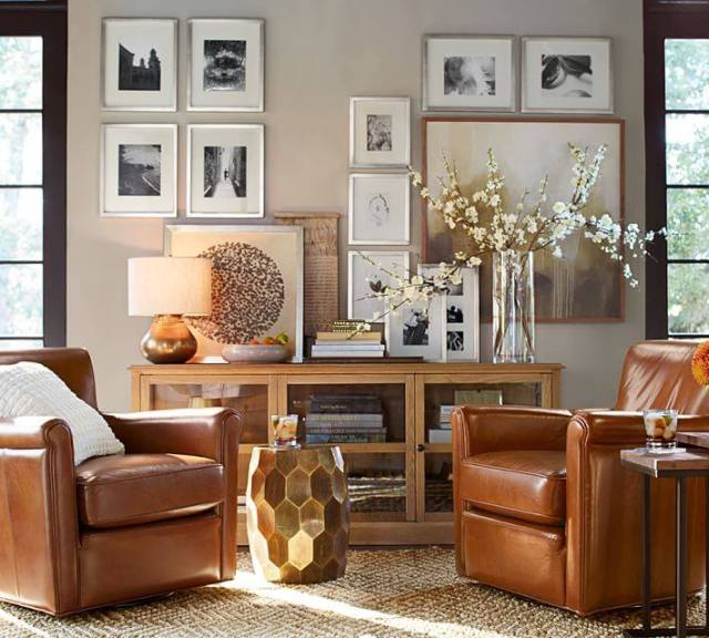 rooms I love by pottery barn featuring irving club chair gallery wall mix of woods black window molding mix of metals
