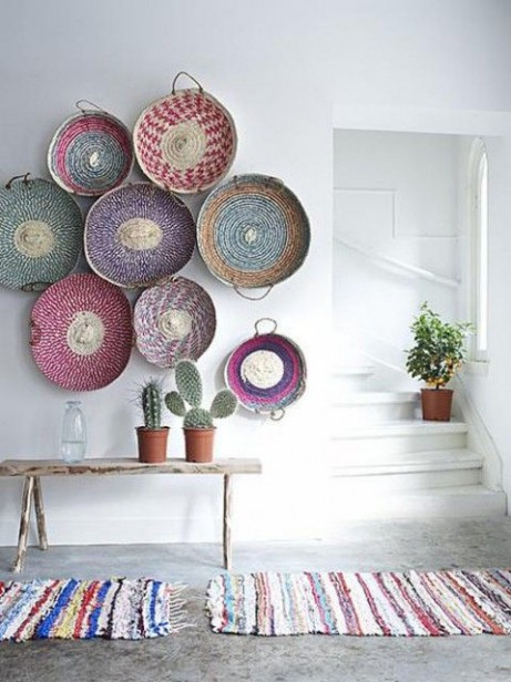 design baskets on wall colorful from lush home via maria killam blog