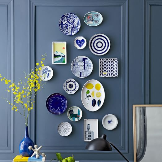 design plates on wall from west elm