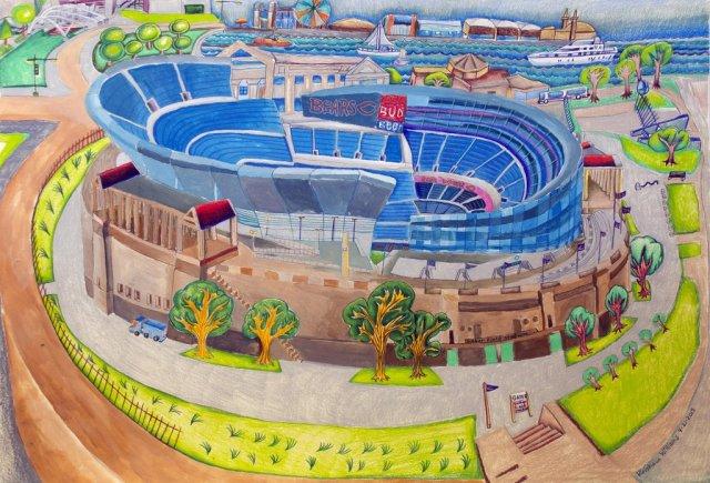 design art bears stadium by krishaun williams via artliftingdotcom