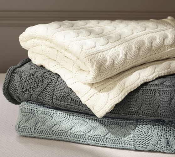 design throw cable knit from pottery barn