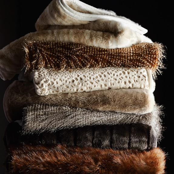 design throws from william sonoma faux fur