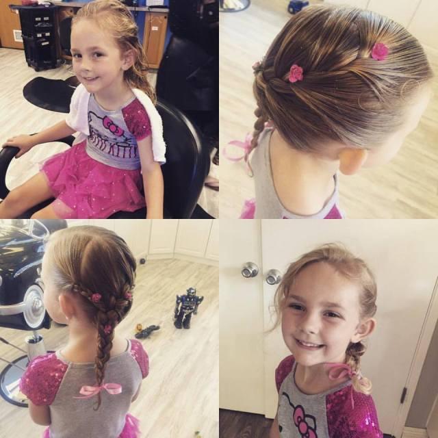 ella first haircut and cute braid aug 2016