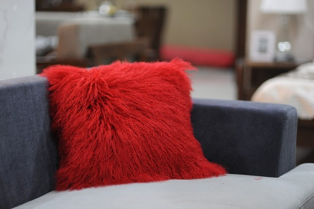 design faux fur mongolian lamb red pillow from houzz