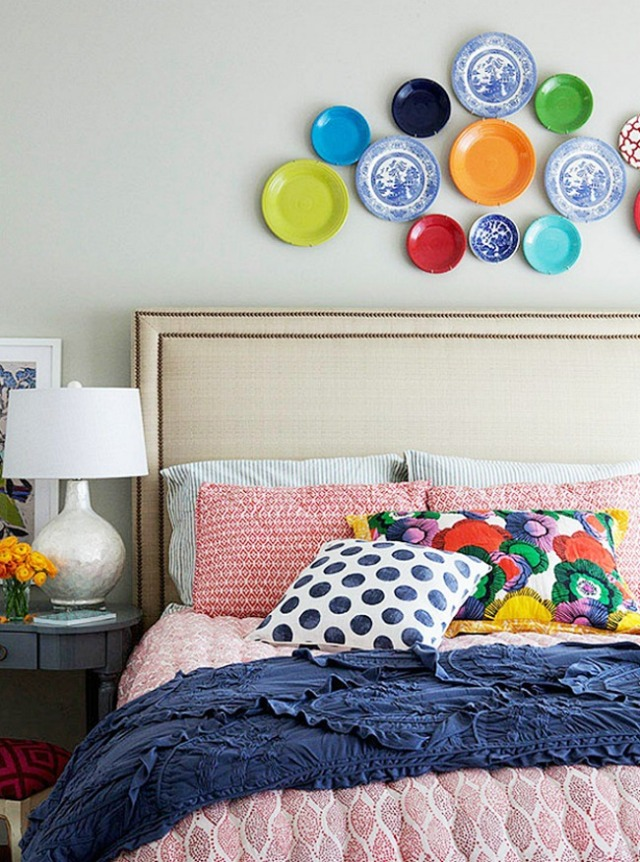 design-plates-on-wall-in-various-colors-with-colorful-bedding-from-life-in-grace-blog-and-thistlewood-farms-blog