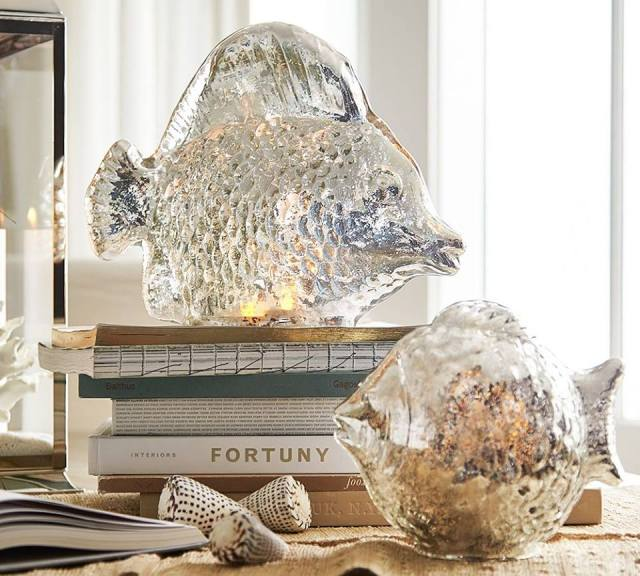 mercury glass fish from pottery barn