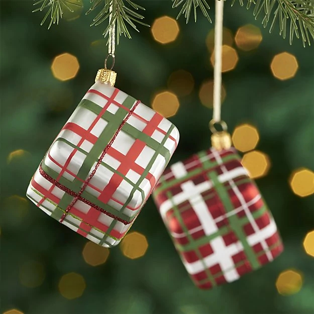 plaid ornaments from crate and barrel