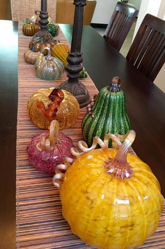 pumpkins glass on lisas table most from stanford pumpkin patch