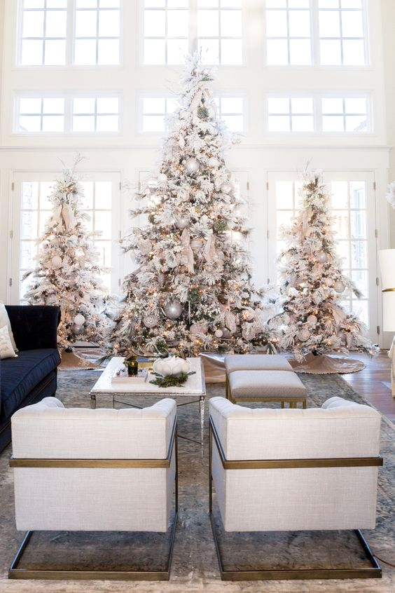 i could live here white christmas trees in modern room via sout coast blog